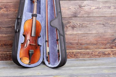 Violin in case and copy space.