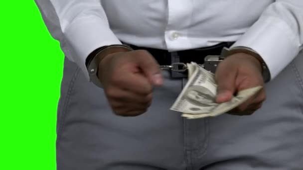 Man in handcuffs holding money on green screen.