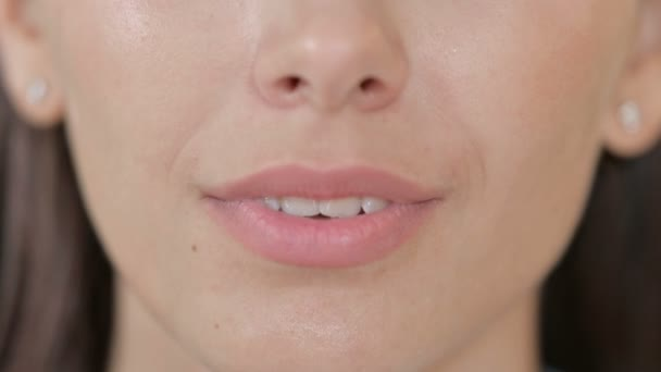 Close up of Mouth of Smiling Young Woman