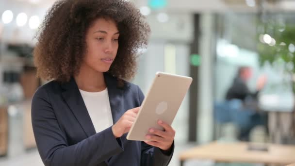 Young African Businesswoman doing Video Call on Digital Tablet