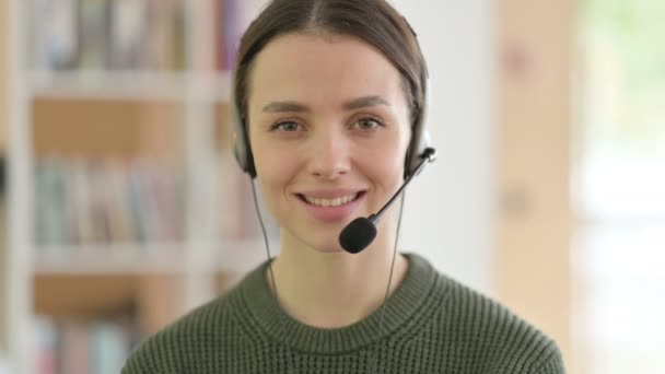 Call Center Woman Smiling at the Camera, Headset