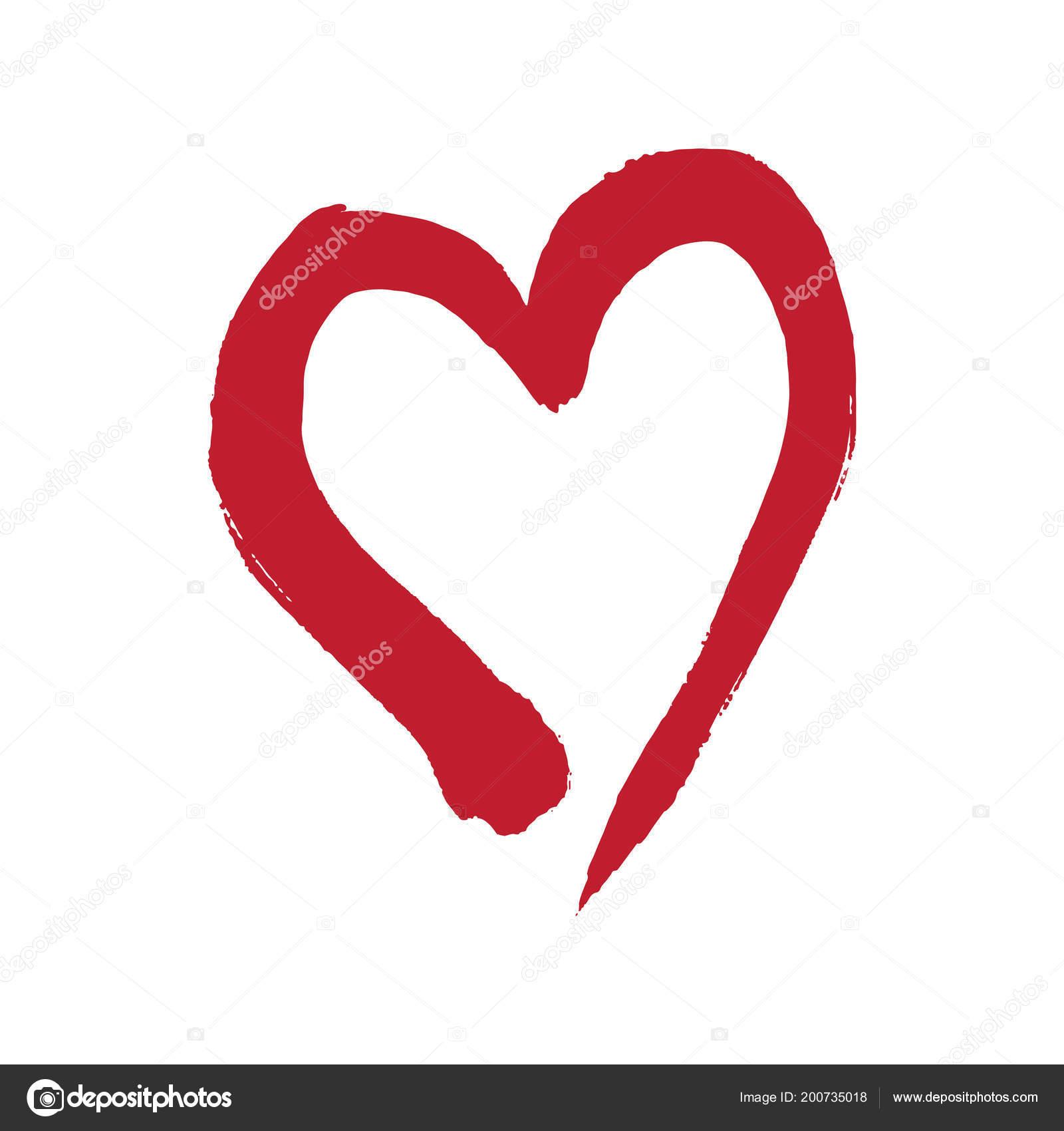 Kalp şekli Ile Fırça Boyama Stok Vektör Madozi 200735018