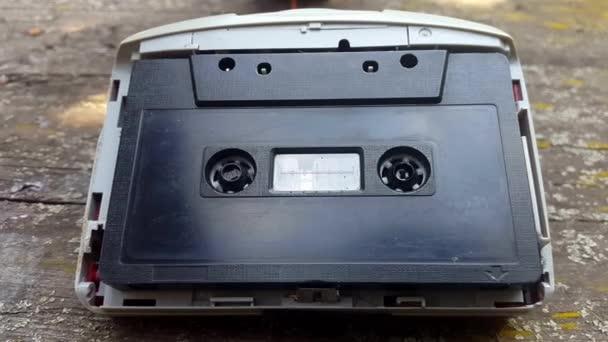 Vintage černé Audio kazetový magnetofon se otáčí
