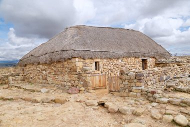 Reconstruction of a Celtiberian house in Numancia, Soria, Spain