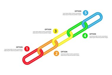 Timeline with chain for business template, vector