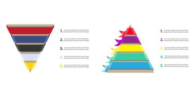 Business template charts with pyramids, vector