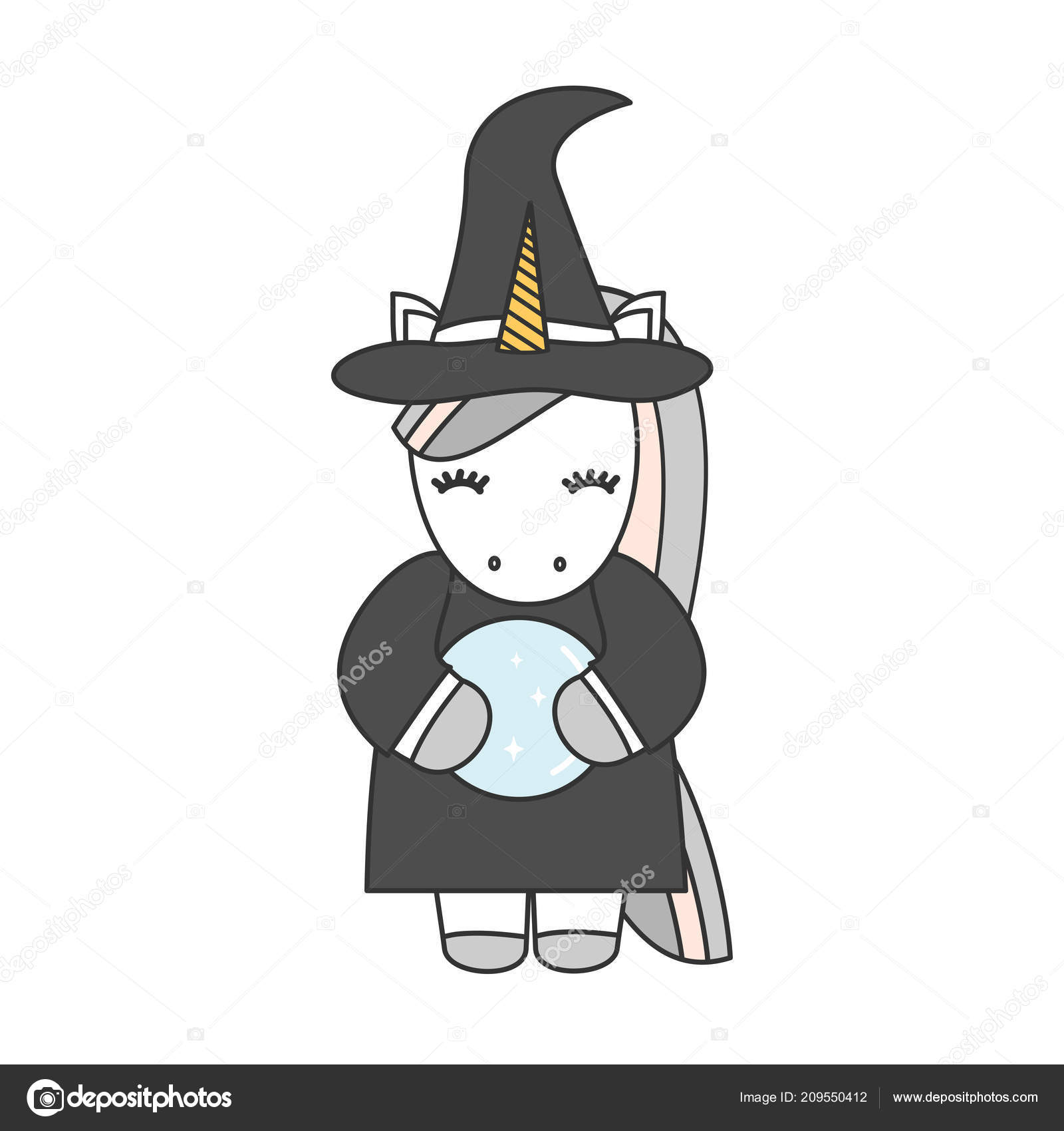 Cute Cartoon Unicorn Witch Crystal Ball Halloween Vector