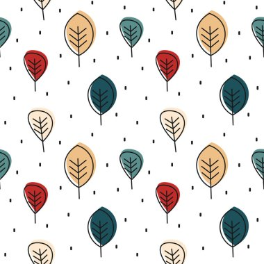 cute autumn seamless vector pattern background illustration with leaves