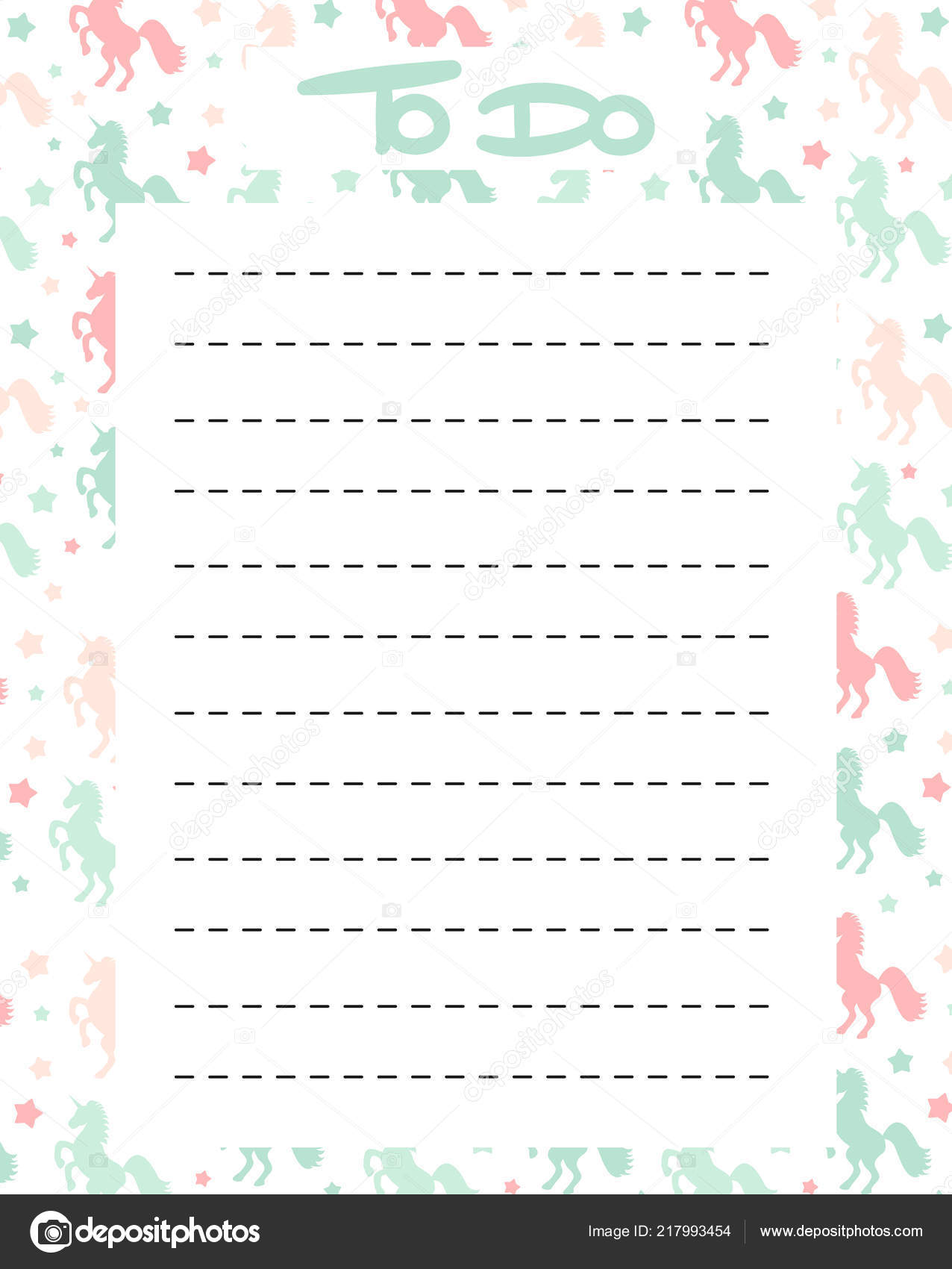 photo relating to Cute Printable to Do List named Printable unicorns Lovely Listing Vector Printable Colourful