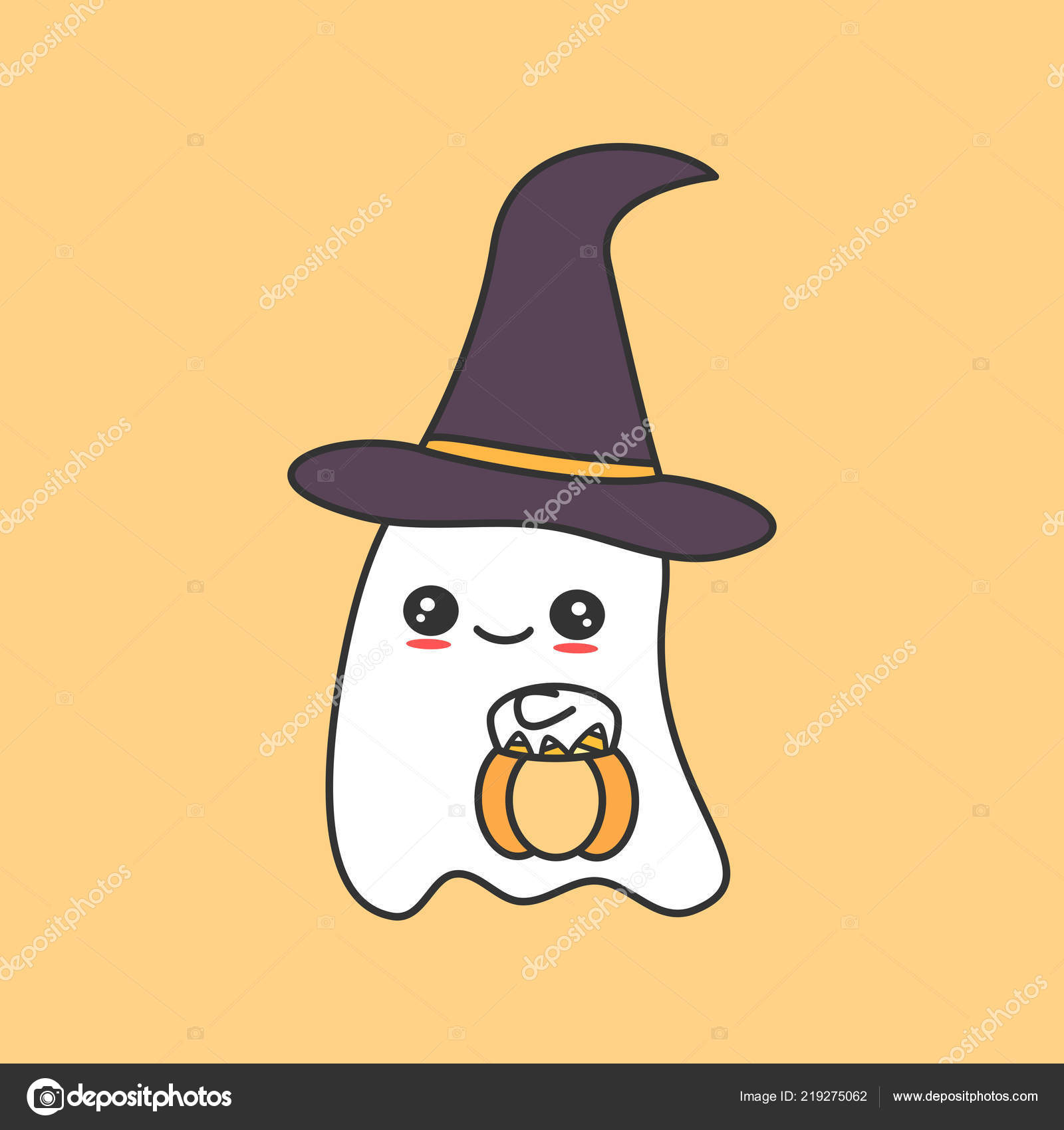 Cute Cartoon Ghost Pumpkin Funny Vector Halloween