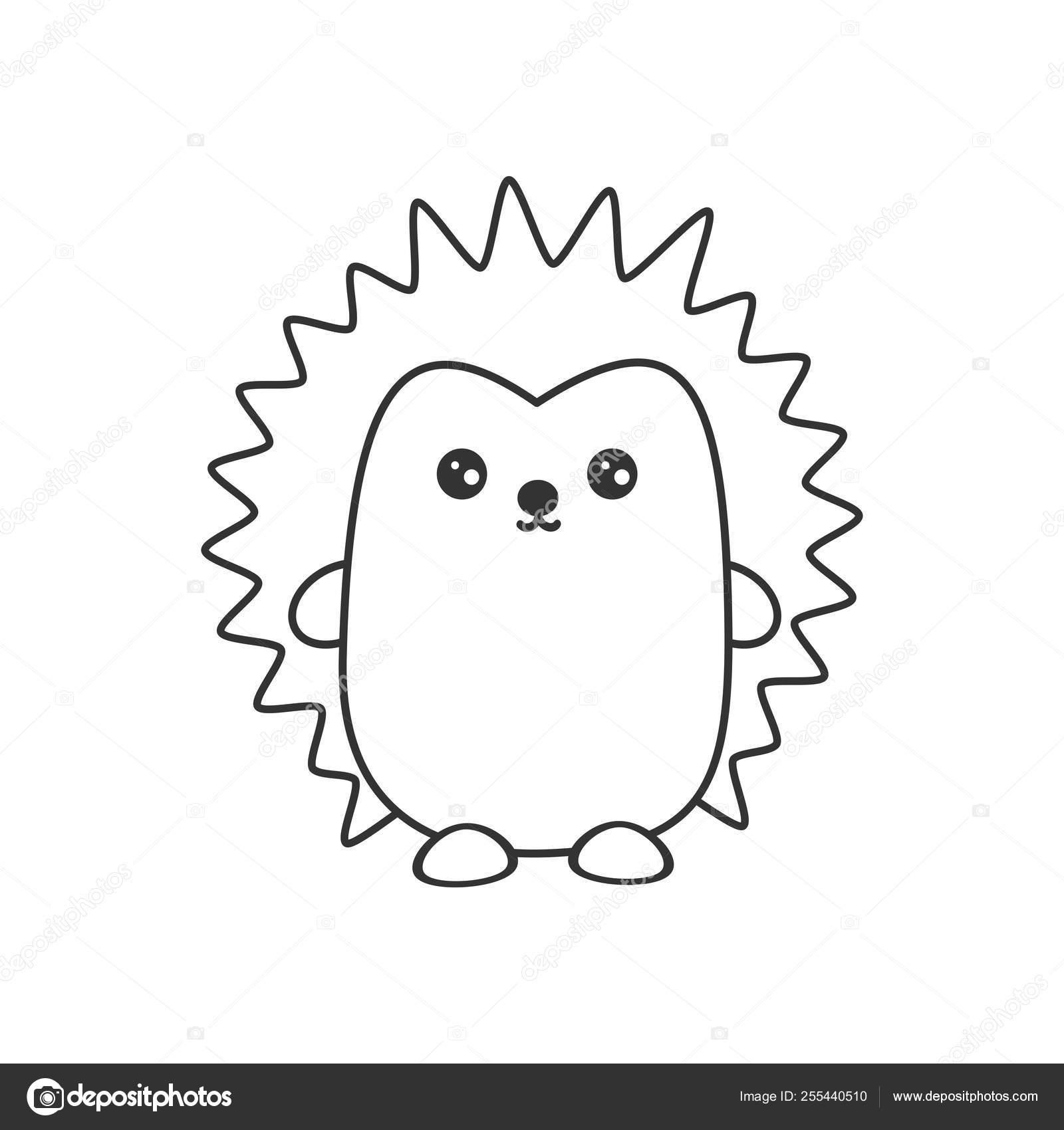 Ilustración Vector Erizo Blanco Negro Dibujos Animados