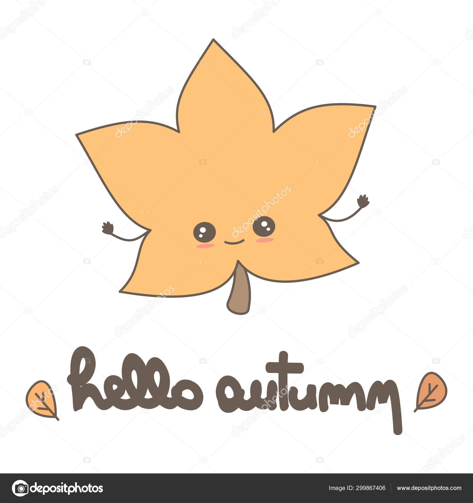 Cute Hand Drawn Lettering Hello Autumn Calligraphy Vector Card Fall Stock Vector C Alicev1978 299867406