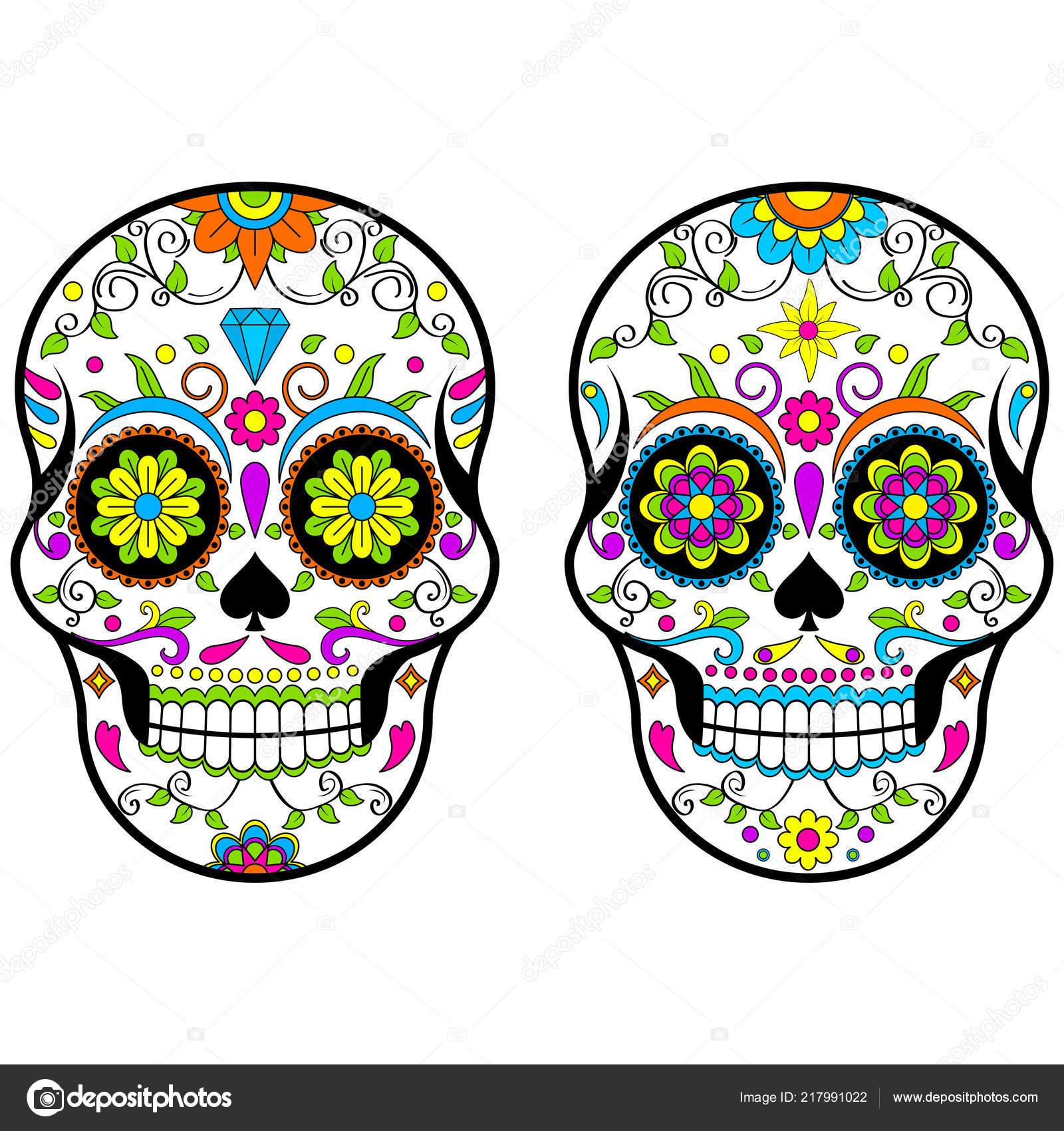 Get Sugar Skull, Flower Skulls, Halloween Clipart, Day Of The Dead Design