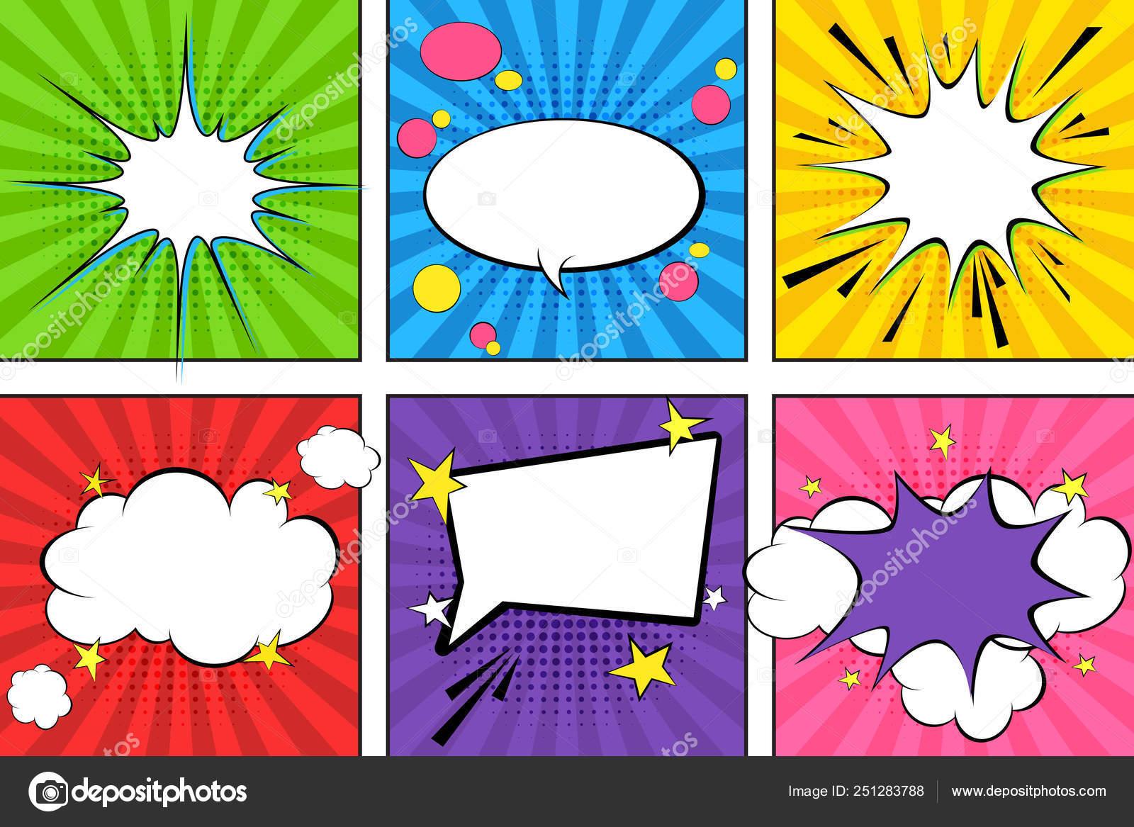 Comic Speech Bubbles Pop Art Vector Label Illustration Vintage Comics Stock Vector C Oklyasya 251283788
