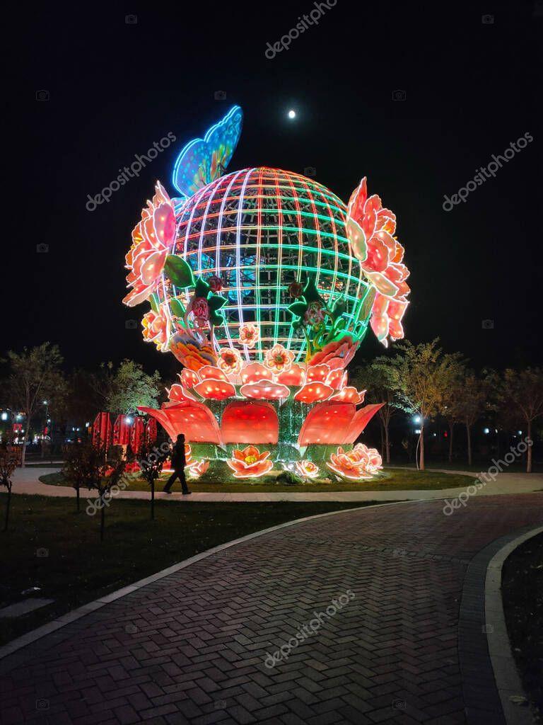 November 9, 2019,China Hebe Sheen, Shijiazhuang Chi, Zhengzhou Xian Street with light arts at night . stock vector