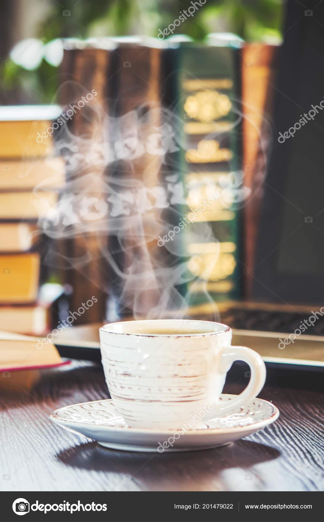 Eine Tasse Kaffee Und Einen Rauch Guten Morgen Büro Bei