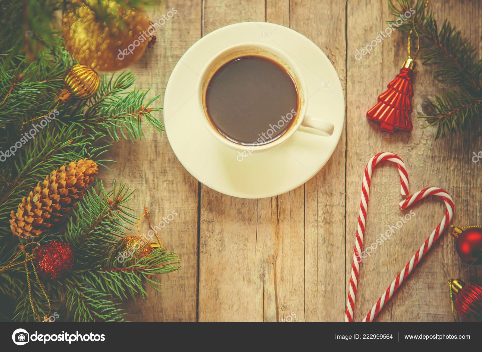 Coffee Christmas Morning.Cup Coffee Christmas Background Christmas Morning Selective