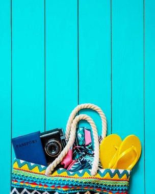 Background journey. Sea tour, items. Selective focus.