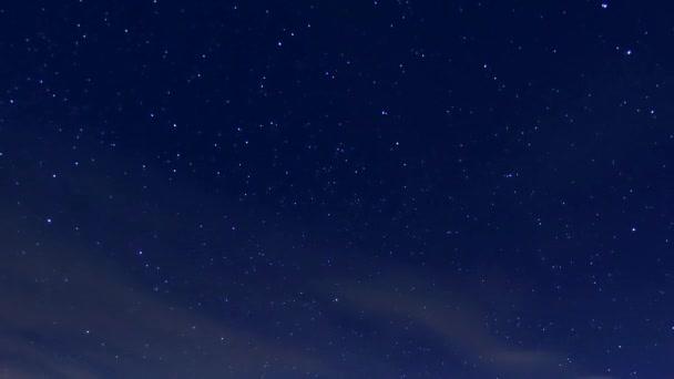 Night starry sky, milky way time lapse meteor shower in horizon, beautiful small stars shining in panorama