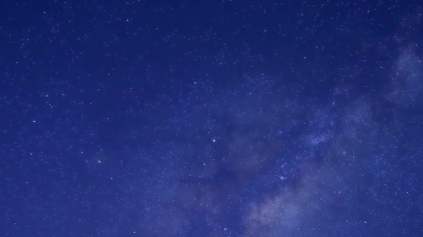 Night starry sky, milky way time lapse meteor shower in horizon, beautiful small stars shining in panorama
