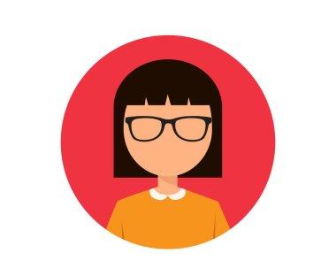 short hair sunglasses girl avatar flat icon illustration vector , short hair sunglasses girl avatar flat icon illustration vector