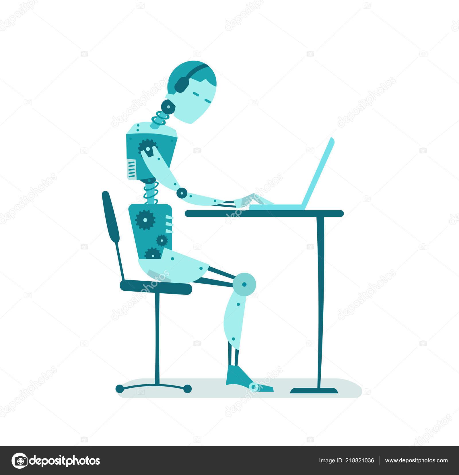 Der Roboter Ist Am Tisch Sitzen Buroarbeit Stockvektor
