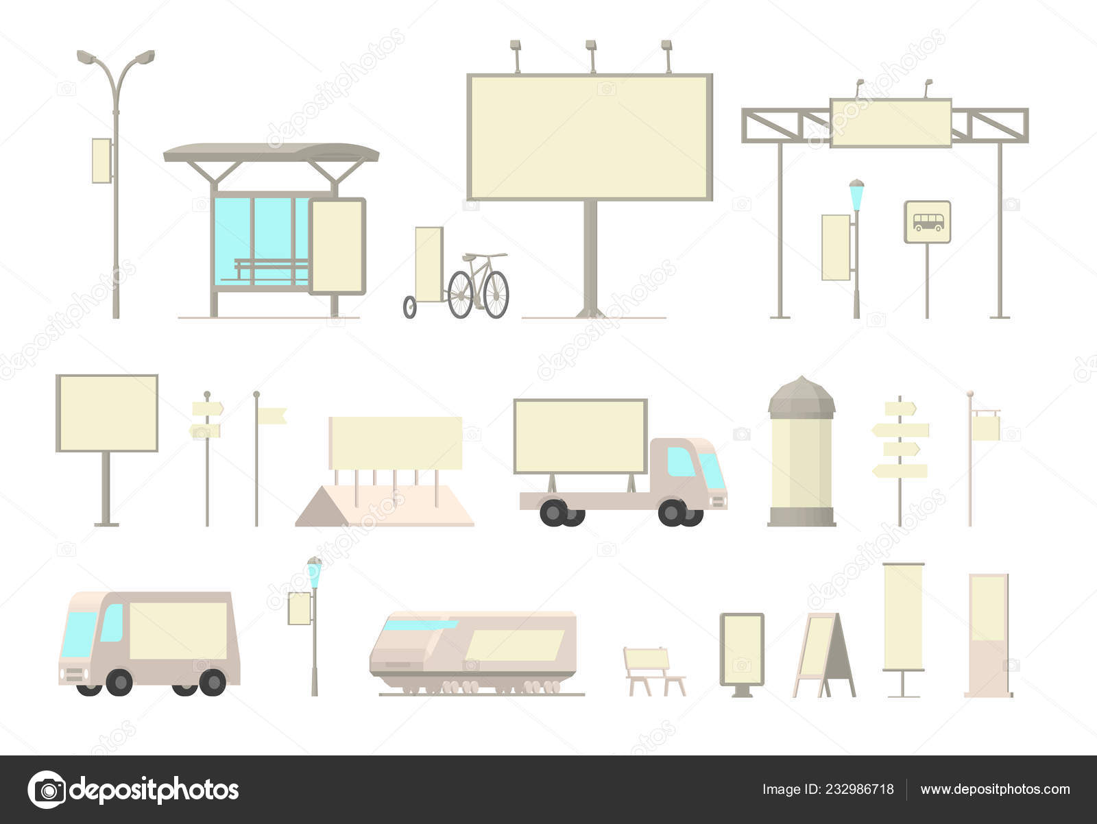 Clipart Publicity Outdoor Advertising Media Set Front