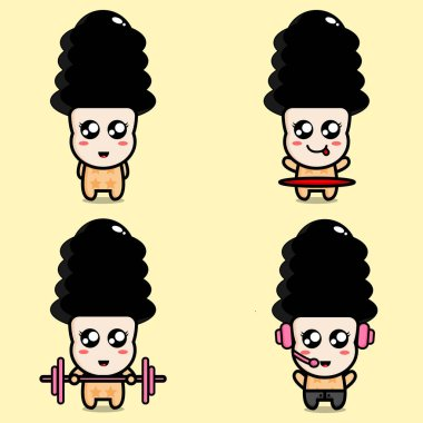 Cute Girl With Stylish Hairstyle Cartoon Character Vector Illustration Pack icon