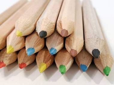 Colored pencils. A set colored pencils isolated on a white background. Copy space. Back to school