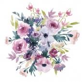 Fotografie Watercolor summer floral composition