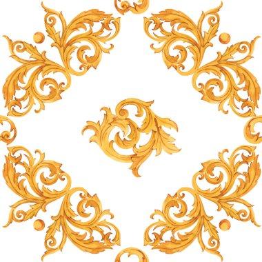 Watercolor golden baroque pattern rococo ornament rich luxury print stock vector