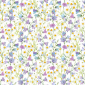 Beautiful seamless floral pattern with watercolor gentle summer bluebell and chamomile flowers. Stock illustration.