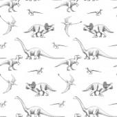 Fotografie Schöne nahtlose Muster mit niedlichen Dinosauriern. Archivbild.
