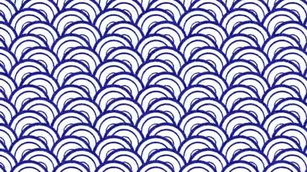 traditionelle blaue Welle japanisches Papiermuster Hintergrundanimation. 4k-Bewegungsgrafik