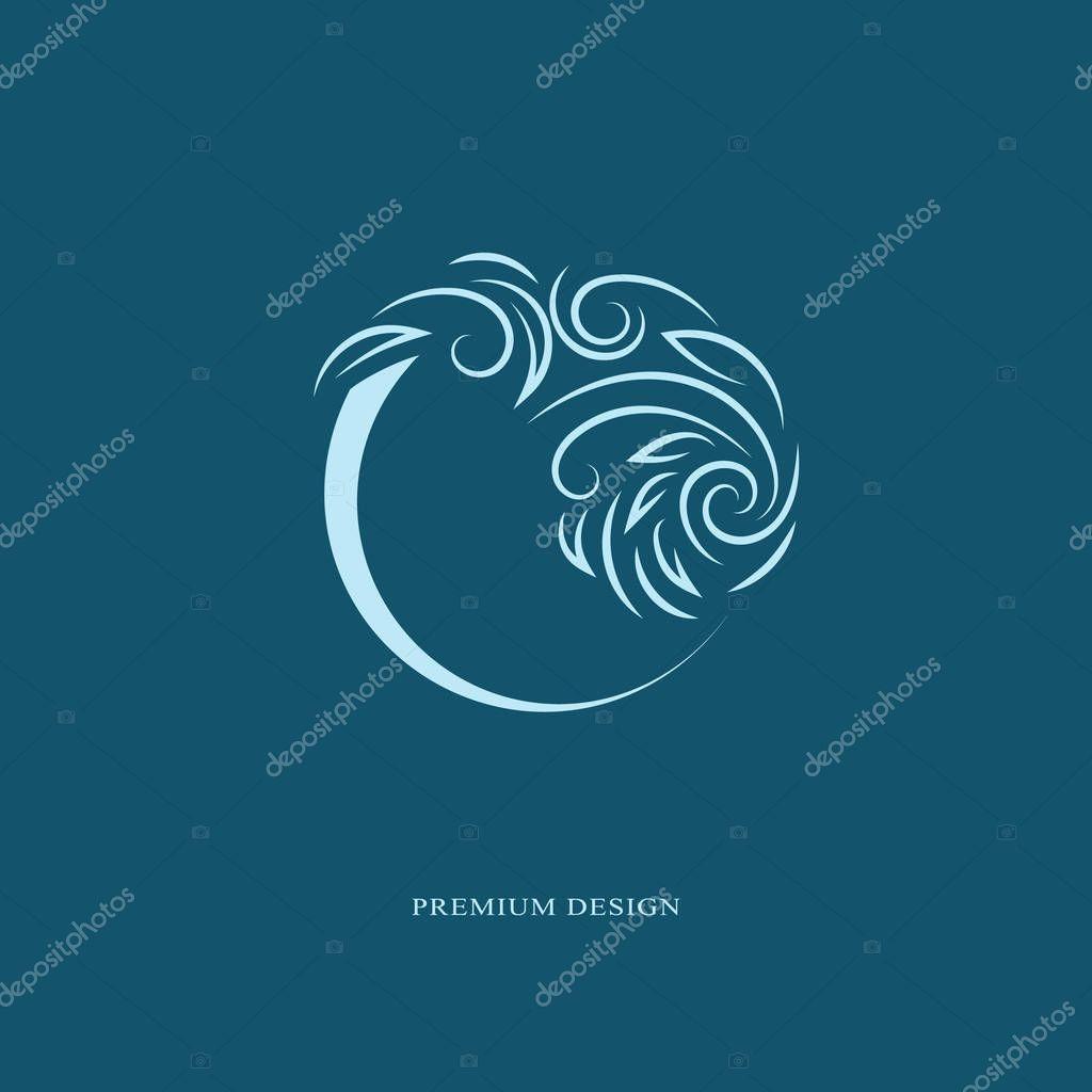 Round emblem template. Abstract form. Elegant art logo design. Monogram sign in trendy linear style floral concept for book design, brand name, business card, Restaurant, Boutique. Vector illustration