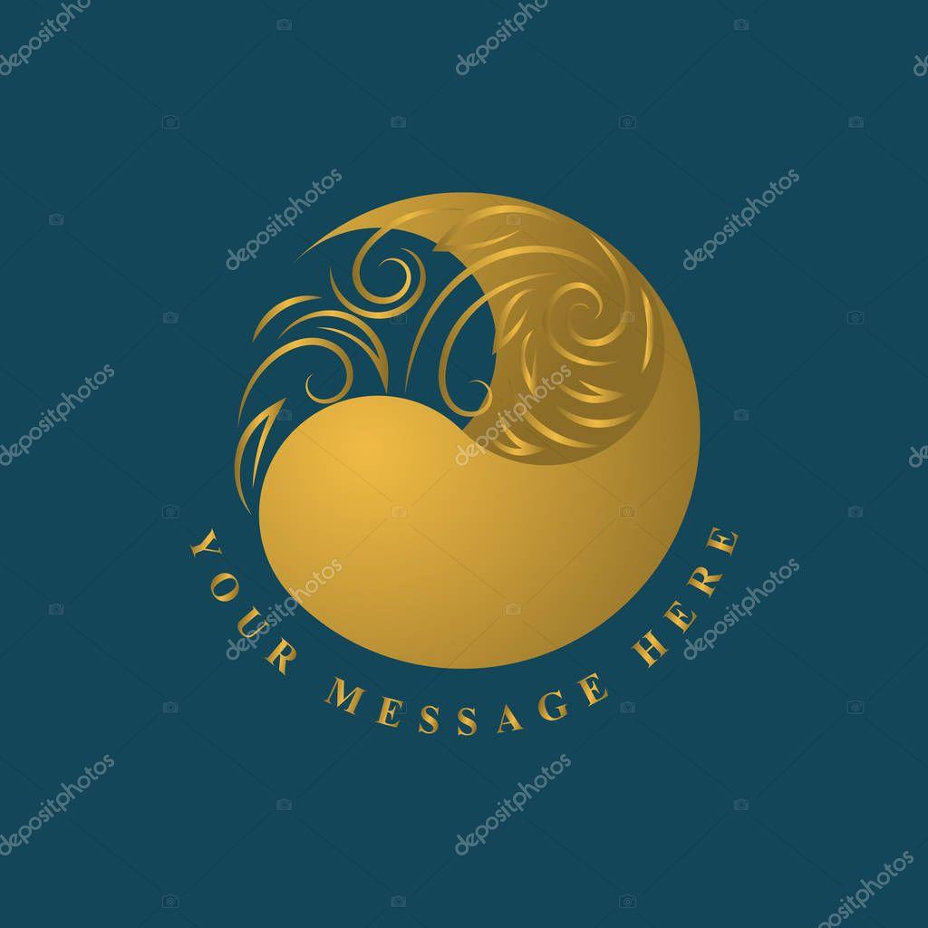 Gold emblem template. Abstract form. Elegant art logo design. Monogram sign in trendy linear style floral concept for book design, brand name, business card, Restaurant, Boutique. Vector illustration