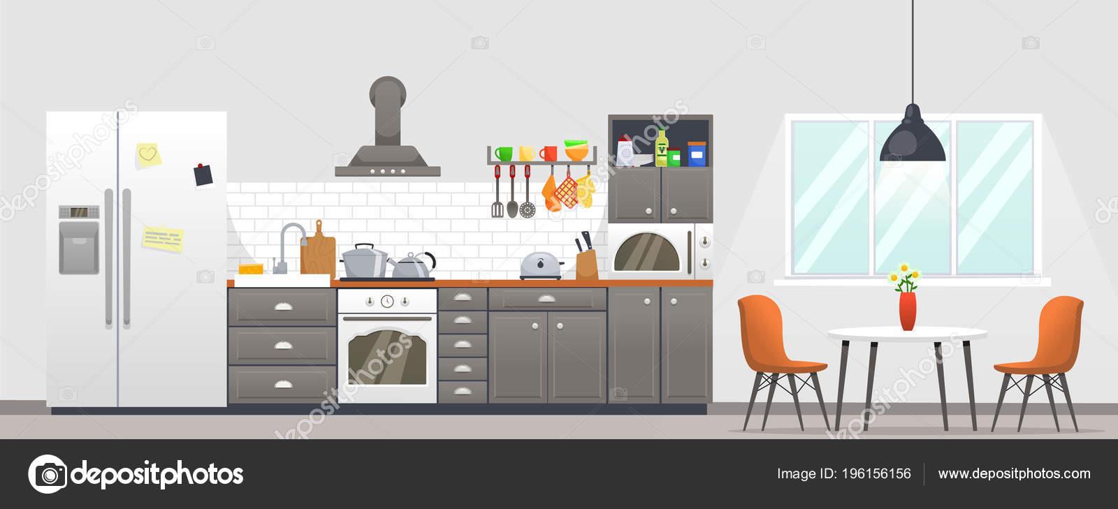 Interior de cocina con muebles ilustraci n vectorial de - Cocina dibujo ...