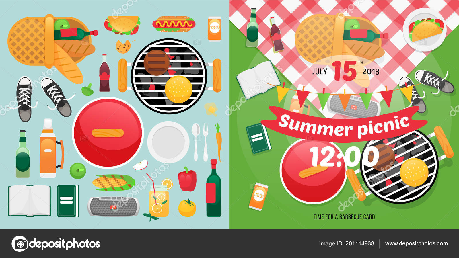 Summer food and holiday objects for easy self made invitation card constructor design for picnic card with barbecue vector elements picnic clipart items summer family picnic invitation card vetor de vivali stopboris Choice Image