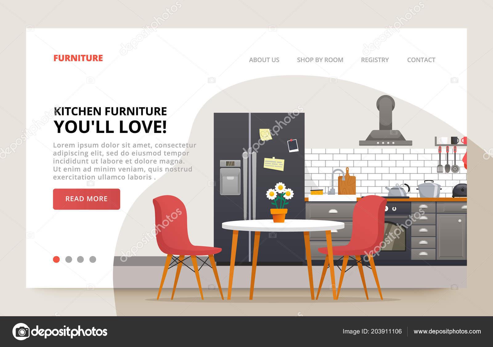 Dinner room design. Home furniture site banner. Kitchen moder design ...