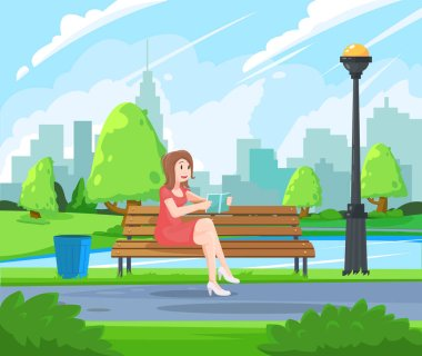 Young woman holding Book and rest on a bench in the park. Reading in the Park. Reading activities at the park.
