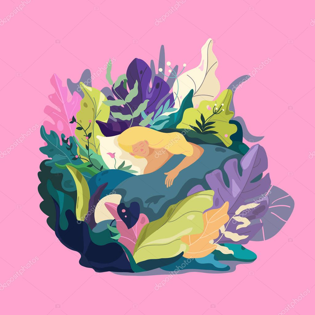 Girl character in sleep pose. Fantasy leaves background template. Dreaming fantasy illustration.