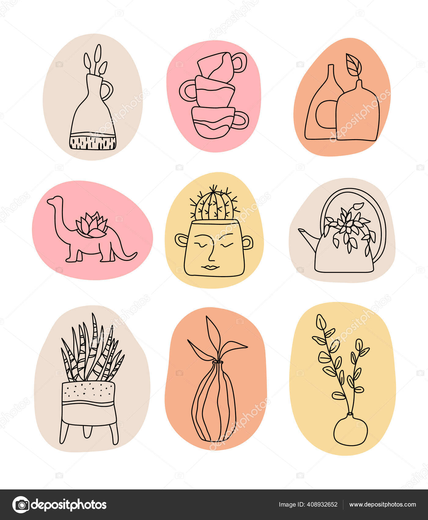 Handmade Clay Pottery Logos Collection Creative Craft Sign Concept In Line Art Style Vector Image By C Vivali Vector Stock 408932652