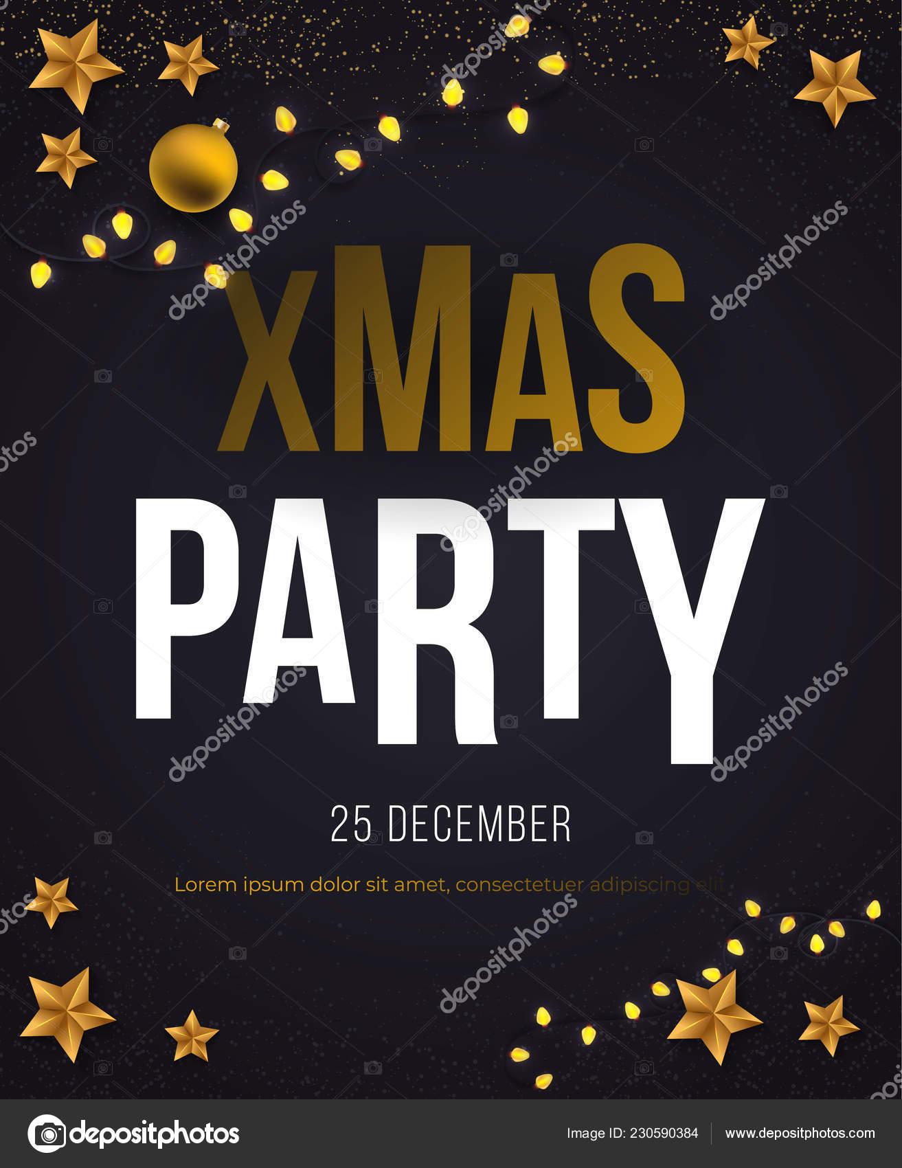 Christmas Party Plakat Wektor Z Gwiazdami Grafika