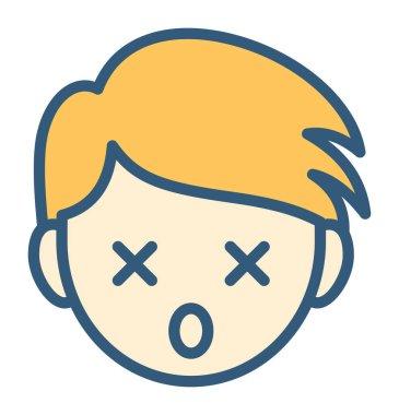 dizzy emoticon concept, vector illustration