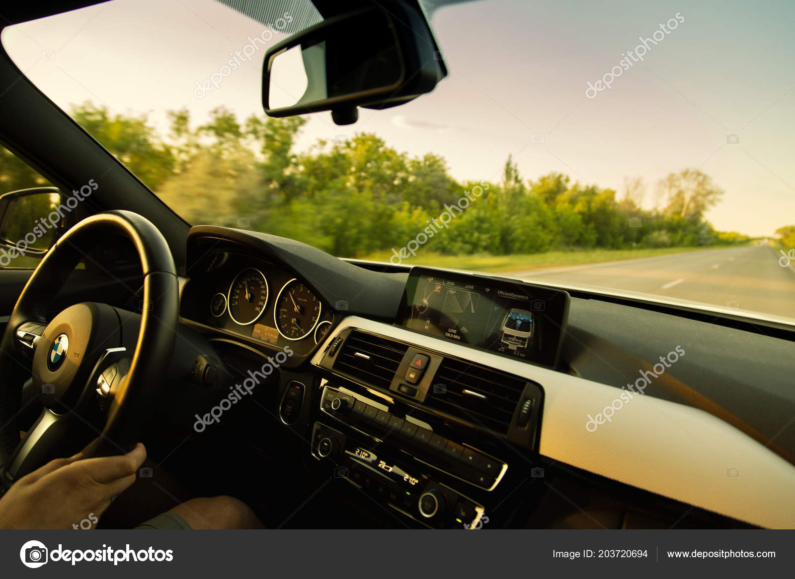 Engels Russia June 2018 White Car Bmw Series F30 Driving Stock Editorial Photo C Man64 203720694
