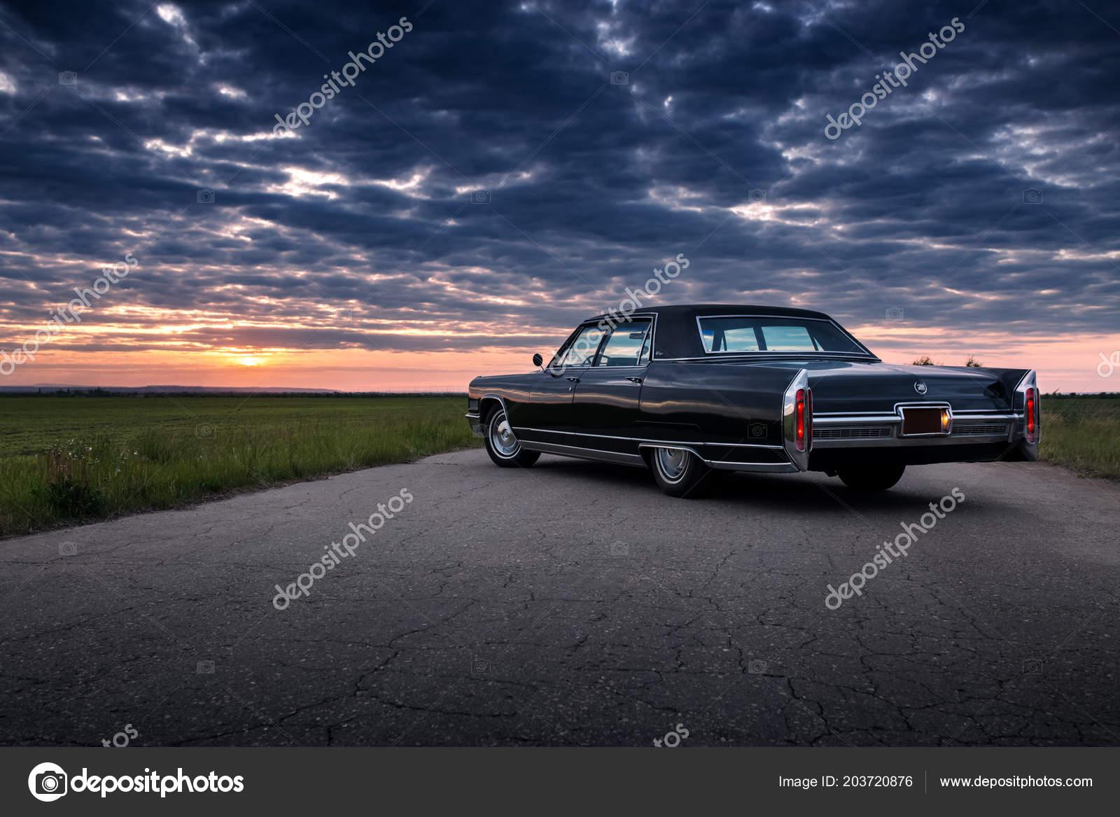 Engels Russia June 2018 Black Retro Vintage Muscle Car Cadillac