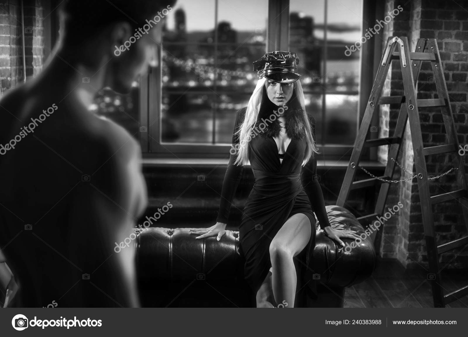 Black white portrait sensual lovers stylish brick room stock image
