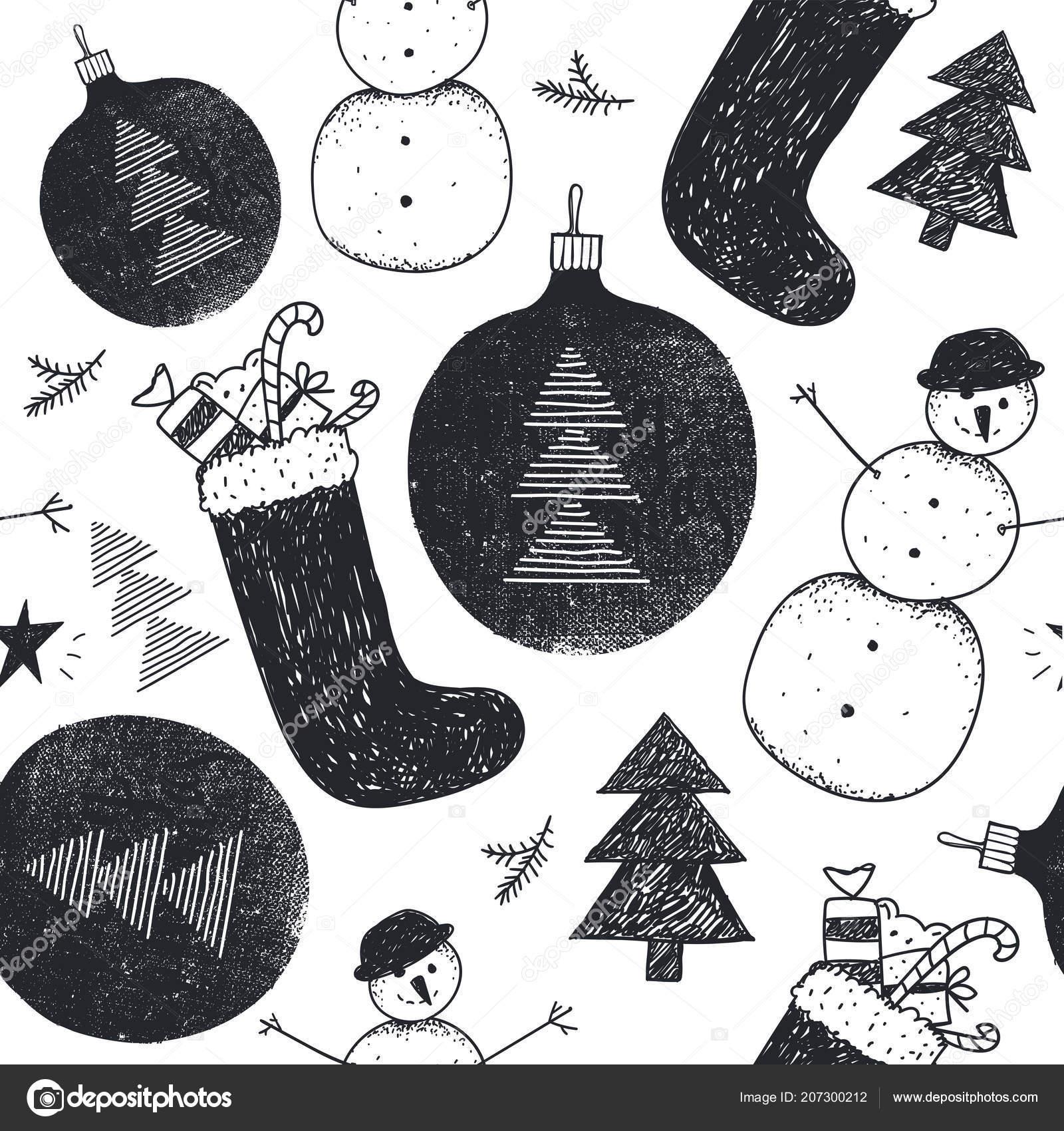 Mano Vector Dibujado Navidad Año Nuevo Patrones Sin Fisuras Invierno ...