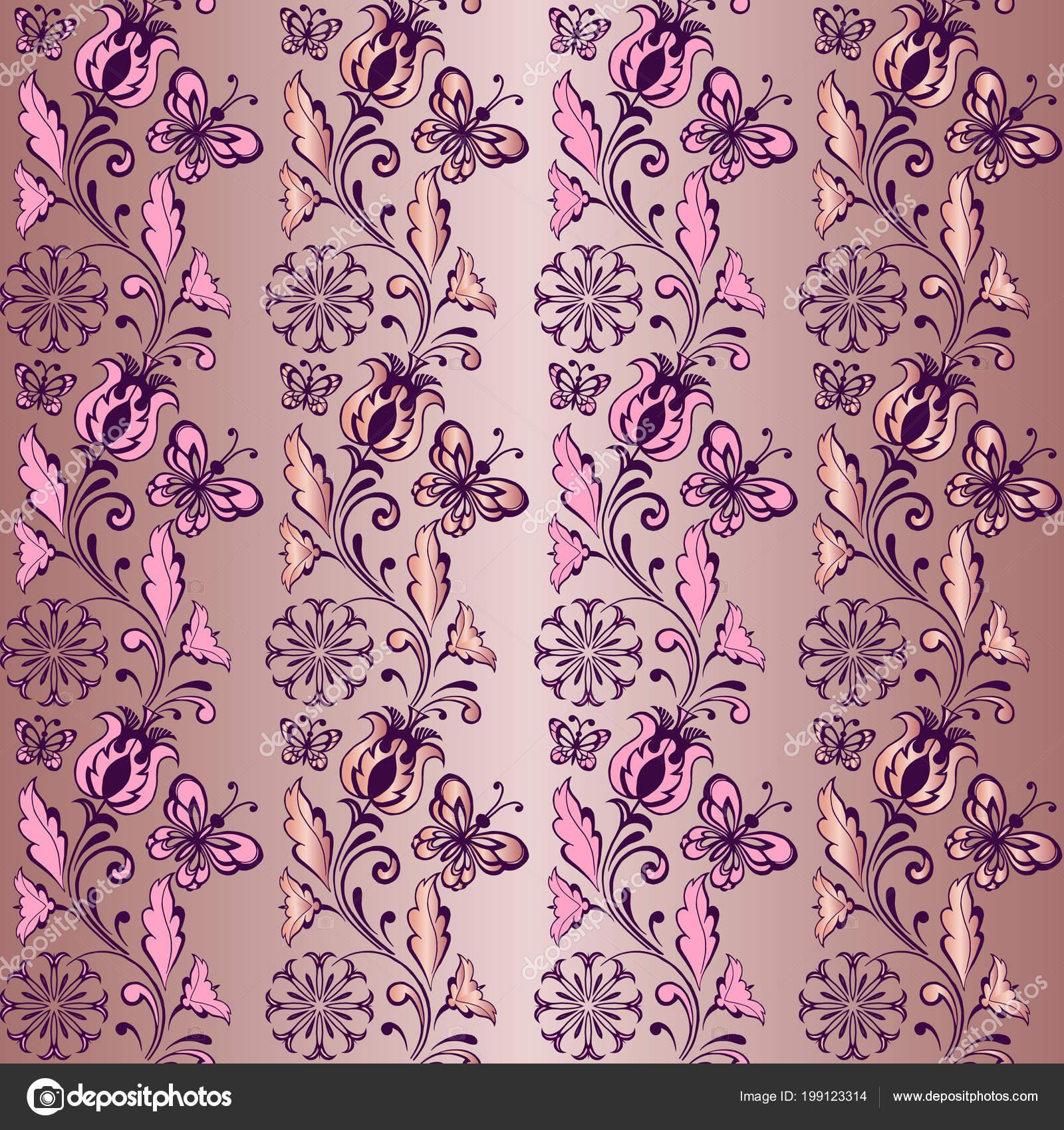 Striped Floral Seamless Pattern Butterflies Pink Decorative