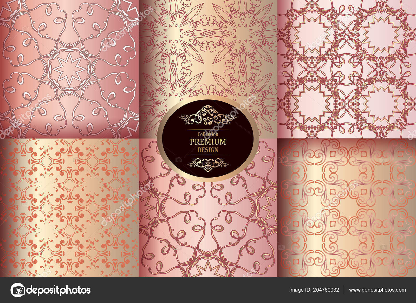 Collection Of Luxury Seamless Patterns Vintage Pink And Gold Wallpaper Victorian Damask Pattern Golden Design Elements